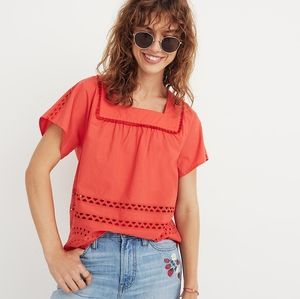 Madewell Eyelet Angelica Pink Top